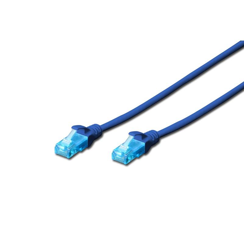 DK-1512-050/B / A-MCUP80050B, Пач кабел Cat.5e 5m UTP син, Assmann