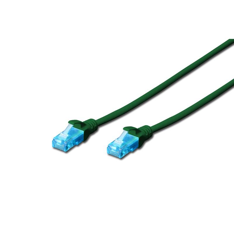 DK-1512-010/G / A-MCUP80010G, Пач кабел Cat.5e 1m UTP зелен, Assmann