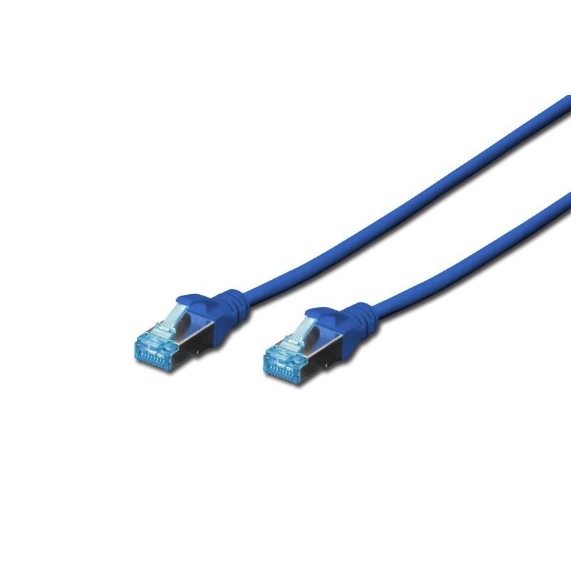DK-1532-005/B A-MCSSP80005B, Пач кабел  Cat.5e 0.5m SFTP син, Assmann