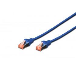DK-1644-005/B, Пач кабел Cat.6 0.5m SFTP син, Assmann