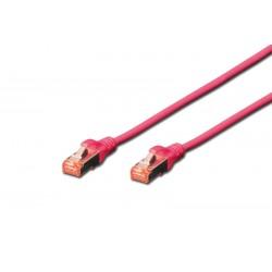 DK-1644-010/MG, Пач кабел Cat.6 1m SFTP розов, Assmann