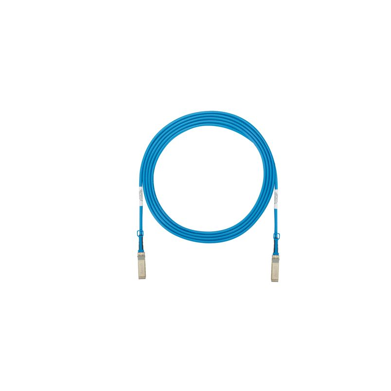 PSF1PXD5MBU, High speed twinaxial cable assembly with SFP+ 10Gbps hot pluggable modular connectors on each end, Blue, 5 meters.