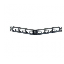 CPPLA24WBLY, Mini Com 24-port modular angled patch panel with faceplates in black, with label and label covers, (1RU).