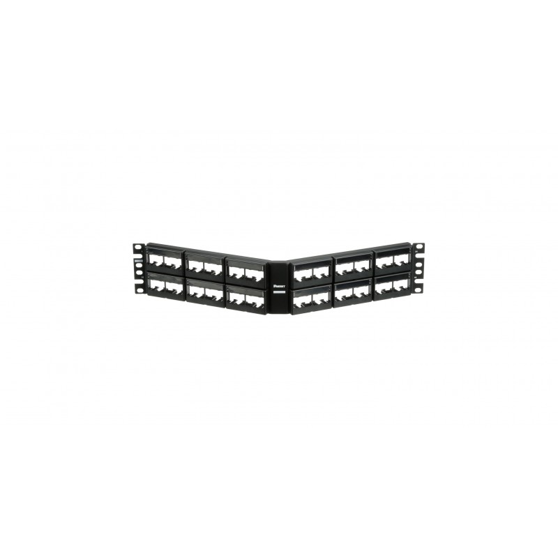 CPPLA48WBLY, Mini Com 48-port modular angled patch panel with faceplates in black, with label and label covers, (2RU).