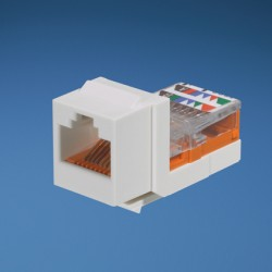 NKP5E88MIW, Category 5e, 8-position, 8-wire, keystone punchdown jack module. Off White.