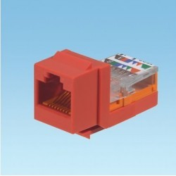 NK5E88MRDY, Category 5e, 8-position, 8-wire, keystone leadframe jack module. Red
