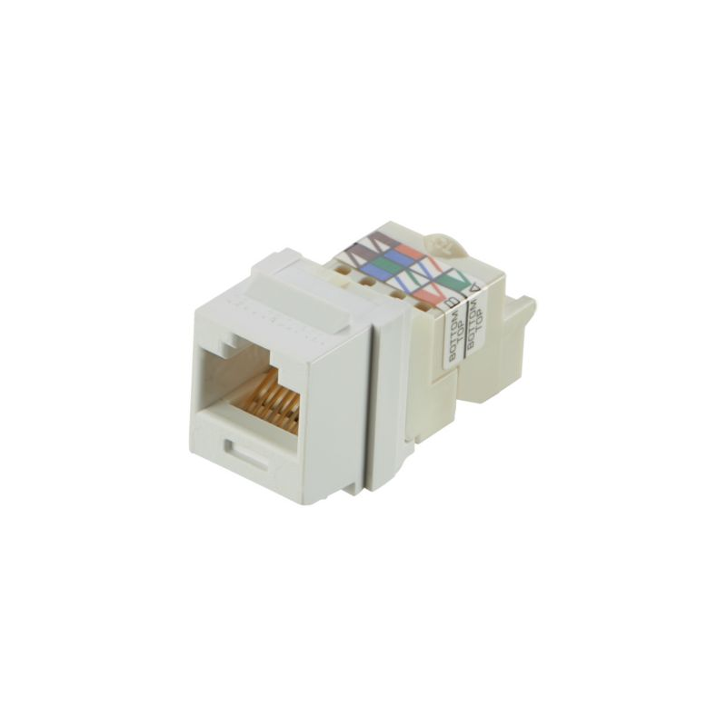 NK6TMWH, Category 6, 8-position, 8-wire Keystone jack module, white.