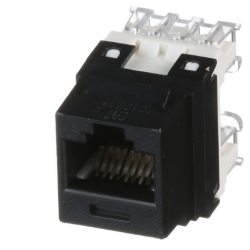 NK688MBL, Category 6, 8-position, 8-wire, keystone punchdown jack module. Black.