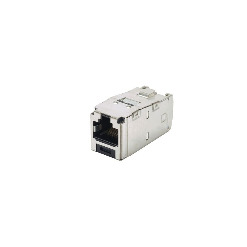 CJS688TGY, Category 6, RJ45, 8-position, 8-wire universal shielded black module with integral shield.