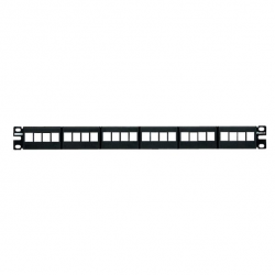 NKFP24Y, Keystone 24-port modular patch panel with faceplates in black, (1 RU).