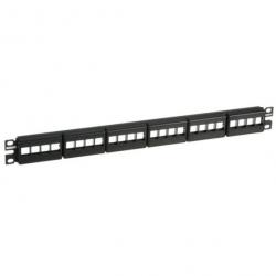 NKFP24Y, Keystone 24-port modular patch panel with faceplates in black, (1 RU).