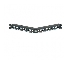 NKPPA24FMY, Keystone 24-port modular flush mount angled patch panel in black, (1RU)