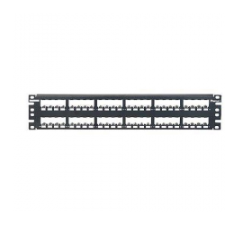 CP48BLY, Mini Com 48-port modular all metal shielded patch panel in black, (2 RU)