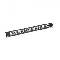 CP24WSBLY, Mini Com 24-port modular all metal shielded patch panel with built-in strain relief bar in black, (1 RU).