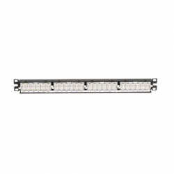 NK6PPG24Y, NetKey 24-port category 6 punchdown flat patch panel in black, (1 RU).