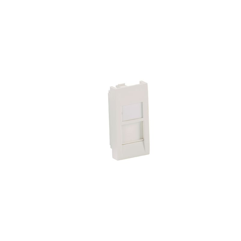 CFA1SAW-X, Mini-Com 22.5mm x45mm Flat Shuttered Adapter, accepts one Mini Com module. Arctic White.