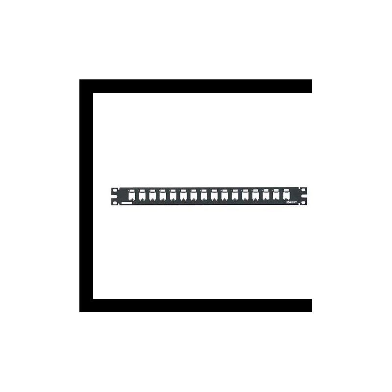 CP16BLY, Mini Com 16-port modular all metal shielded patch panel in black, (1 RU).