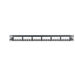 CP24BLY, Mini Com 24-port modular all metal shielded patch panel in black, (1 RU).