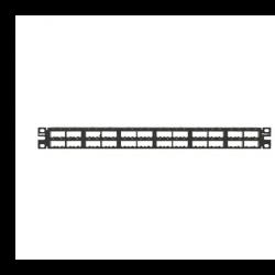 CPP48HDEWBL, Mini Com 48-port unshielded modular high density patch panel in black, has enhanced area for labeling, (1RU).
