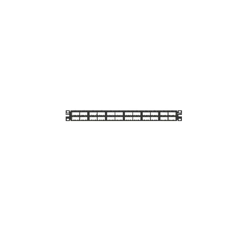 CPP48HDEWBL, Mini Com 48-port unshielded modular high density patch panel in black, has enhanced area for labeling, (1RU).