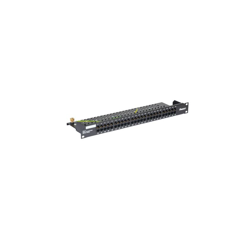 VP50384KBLY, 50-port category 3 ISDN/telephone flat patch panel is black, (1 RU).