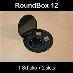 47010, ICSRoundbox12 с 1 контакт, 1xUSB, 1xCat.6 FTP