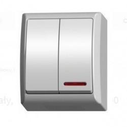 LNH-2HS/00, Ключ двоен с подсветка, IP44 бял, Ospel - FALA