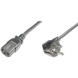 AK-440100-050-S, Захранващ кабел Shouko 90C angled - C13, 5m черен