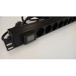 """TG-8AV, 19"""" Разклонител 8x220V с Amp/Volt meter, 3m"""