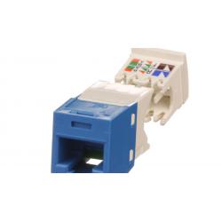 CJ688TGBU, The Category 6, RJ45, 8-position, 8-wire, UTP Mini-Com® universal jack module has TG-style termination and is blue