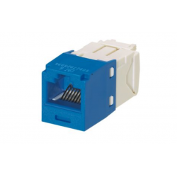 CJ688TGBU, The Category 6, RJ45, 8-position, 8-wire, UTP Mini-Com® universal jack module has TG-style termination and is blue