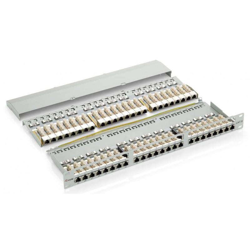 326448, Пач панел 48 порта 1U FTP Cat.6 черен, Equip
