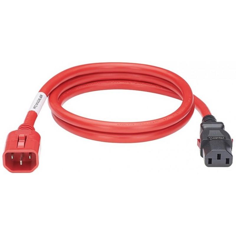 LPCA03, Захранващ кабел C13 - C14 locking 1.2m червен
