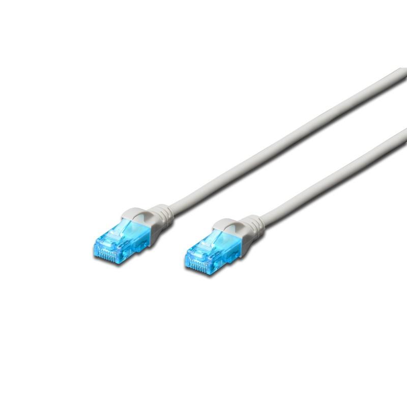DK-1512-010 /A-MCUP80010, Пач кабел Cat.5e 1m UTP сив, Assmann
