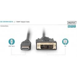 AK-330300-020-S, HDMI към A-DVI(18+1) M/M 2m Assmann