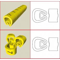 "1811-M, Маркер - скоба PVC жълта ""M"" 1000 pcs UNEX"
