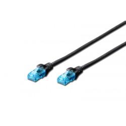 DK-1512-070/BL, Пач кабел Cat.5e 7m UTP черен, Assmann