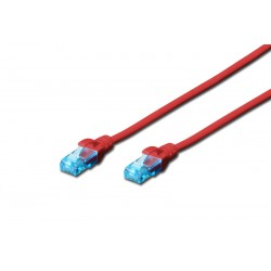DK-1512-100/R, Пач кабел Cat.5e 10m UTP червен, Assmann