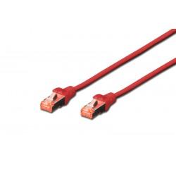 DK-1644-005/R  DK-1641-005/R, Пач кабел Cat.6 0.5m SFTP червен, Assmann
